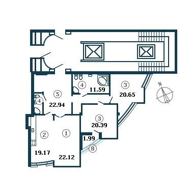 Планировка Трёхкомнатная квартира площадью 129.5 кв.м в ЖК «Diadema Club House»