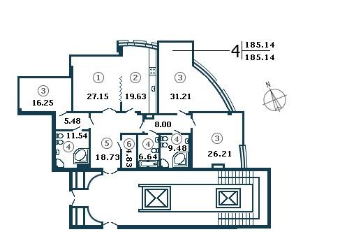 Планировка Четырёхкомнатная квартира площадью 186.6 кв.м в ЖК «Diadema Club House»