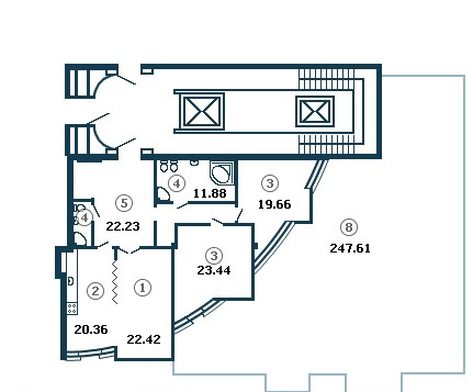 Планировка Трёхкомнатная квартира площадью 135.5 кв.м в ЖК «Diadema Club House»