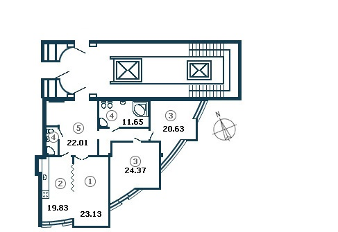Планировка Трёхкомнатная квартира площадью 133.9 кв.м в ЖК «Diadema Club House»