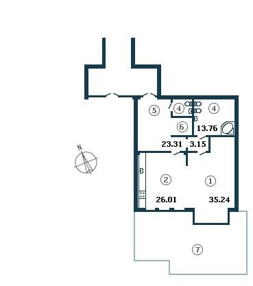 Планировка Однокомнатная квартира площадью 103.21 кв.м в ЖК «Diadema Club House»