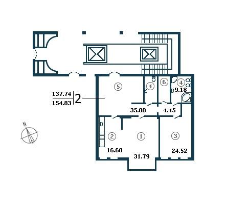 Планировка Двухкомнатная квартира площадью 137.74 кв.м в ЖК «Diadema Club House»